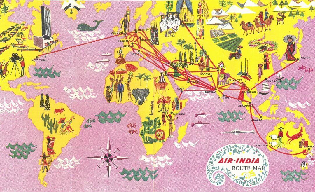 Air India 1963 Map
