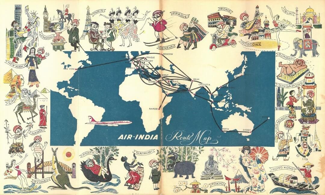 Air India World Route Map 1966