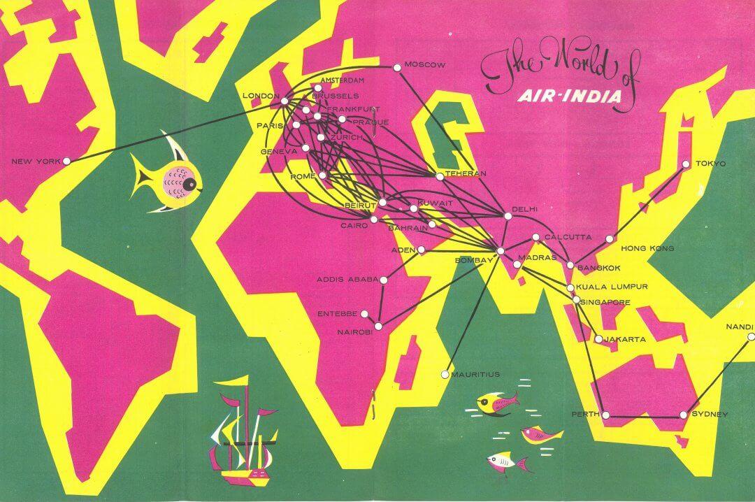 Air India 1969 World Map