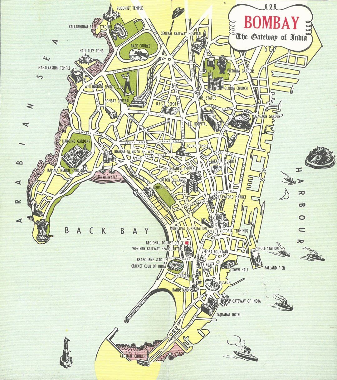 City Map of Bombay (Mumbai)