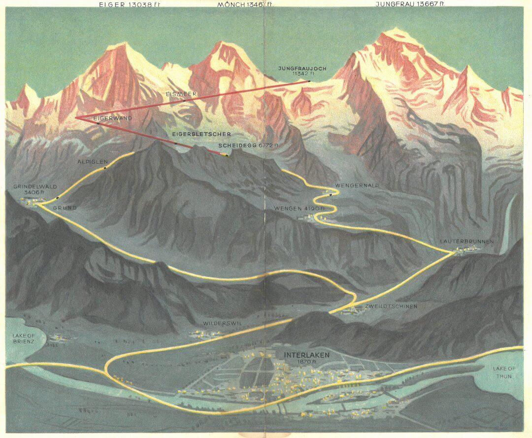 Wengernealp Jungfrau Interlaken Railway Map