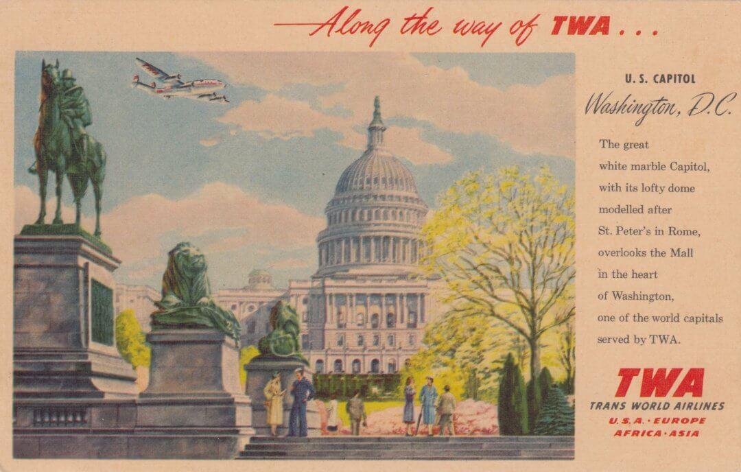 TWA Postcard Washington DC